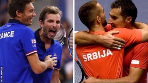 France and Serbia Davis Cup doubles teams