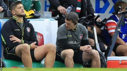 Mike Williams (left) assesses his injury after leaving the Welford Road pitch