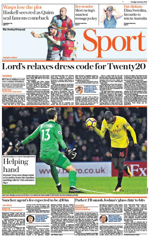 The Sunday Telegraph sport section