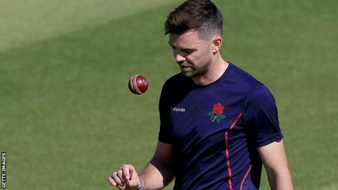 James Anderson takes part in some bowling practice