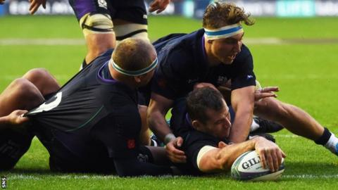 Fraser Brown was denied a second try after the TMO called offside against Scotland