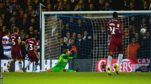 Pawel Wszolek gives QPR the lead against Aston Villa