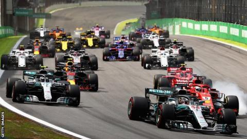 Formula 1 cars race at the start of the Brazilian Grand Prix in 2018