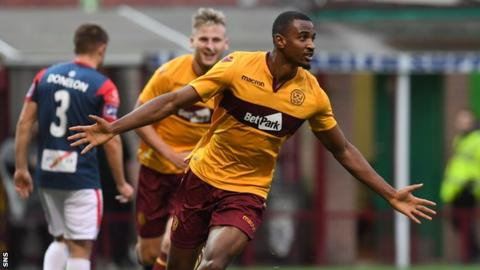 Christian Mbulu celebrates making it two for Motherwell