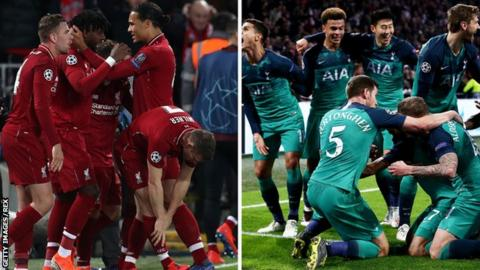 Liverpool FC and Tottenham FC players celebrate reaching the Champions League final