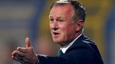 Northern Ireland boss Michael O'Neill gives instructions during the Saravejo game