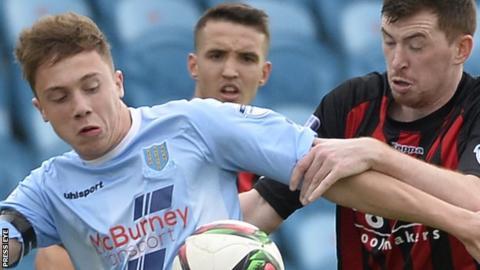 Matthew Shevlin in action for Ballymena United