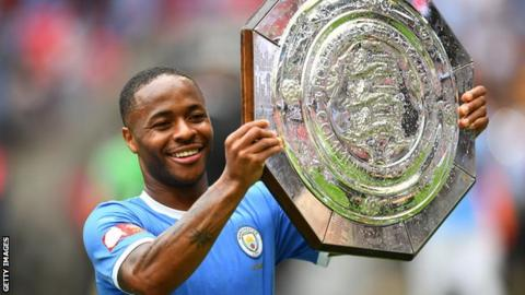 Raheem Sterling with the Community Shield
