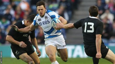 Nick De Luca in action for Scotland against New Zealand