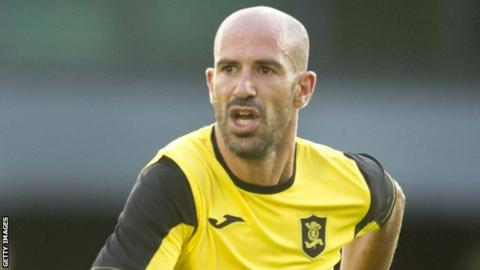 Hugo Faria in action for Livingston