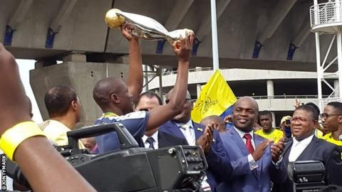 Mamelodi Sundowns with the African Champions League trophy