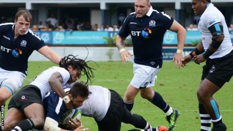 Scotland push for a try in Suva, Fiji