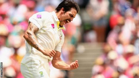 Mitchell Johnson celebrates taking a wicket