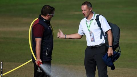 Dean Cosker chats to a Somerset groundsman