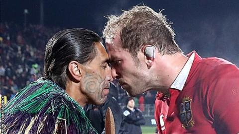 Alun Wyn Jones receives a traditional Maori greeting in New Zealand