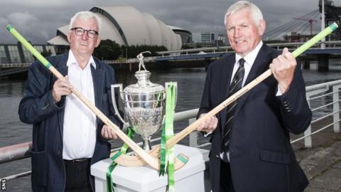 BBC commentator Hugh Dan MacLennan and Camanachd Association chieftan Jock Turner