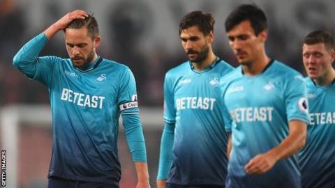 Swansea players dejected