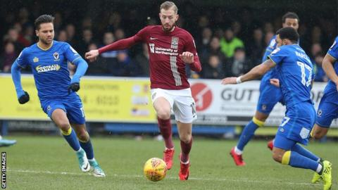 Northampton Town striker Kevin Van Veen