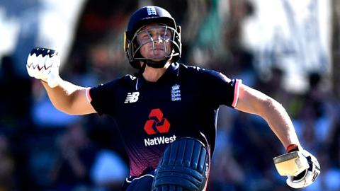 England's Jos Buttler celebrates reaching his century against Australia