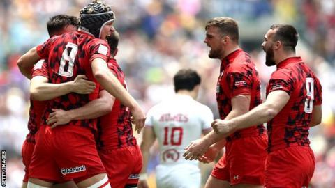 Wales celebrate after beating USA at Hong Kong Sevens in April