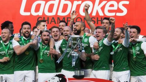 Hibernian lift the Championship trophy