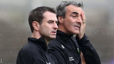 Then assistant boss Rory Gallagher watches with Jim McGuinness as Donegal implode in the 2013 All-Ireland quarter-final against Mayo
