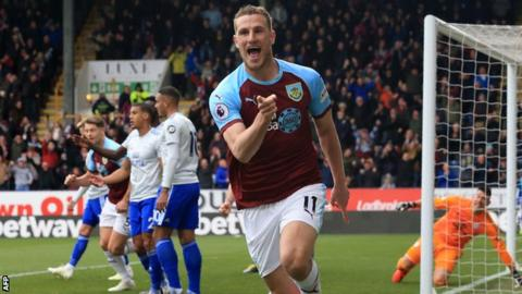 Chris Wood celebrates scoring for Burnley against Cardiff City