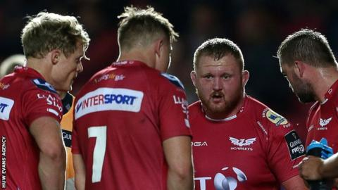 Samson Lee makes a point during Scarlets' win over Dragons
