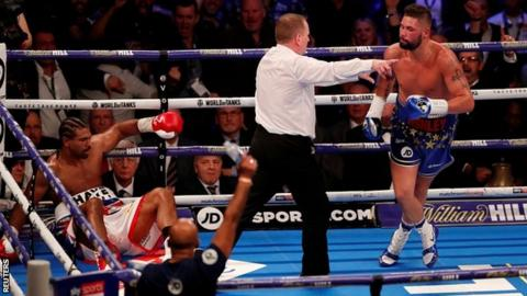 Tony Bellew knocks down David Haye