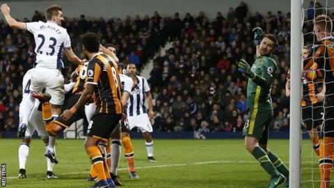 Gareth McAuley's header appeared to be kept out but the goalline decision system ruled it had crossed