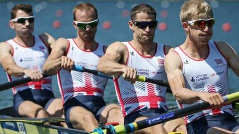 Peter Chambers (second from left) will hope to qualify for the Olympics with the lighweight four crew