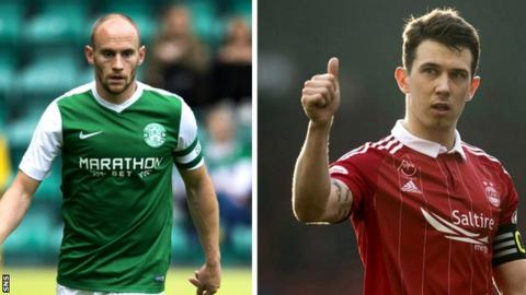 Hibs captain David Gray and Aberdeen counterpart Ryan Jack
