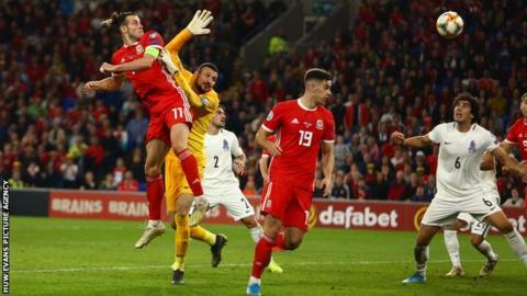 Gareth Bale's headed goal against Azerbaijan