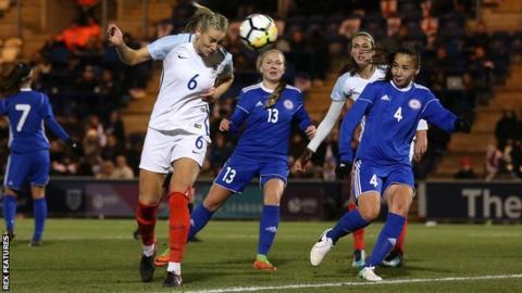 Gemma Bonner heads the ball for England against Kazakhstan