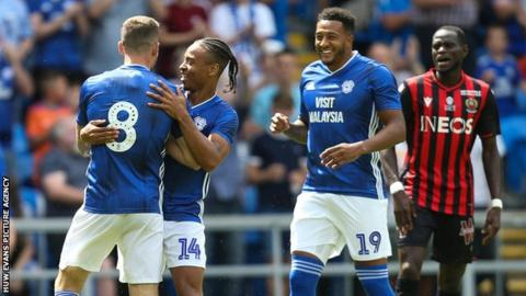Joe Ralls is congratulated by Cardiff team-mate Bobby Decordova-Reid after scoring against Nice
