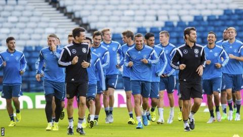 The Germany squad trained at Hampden on Sunday