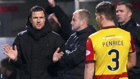 Partick Thistle manager Gary Caldwell congratulates James Penrice