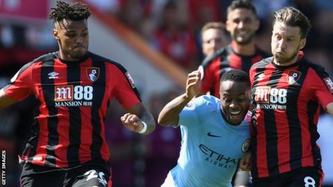 Tyrone Mings (left) received abusive tweets after sharing an article relating to news of a man being jailed for attacking Raheem Sterling (centre)