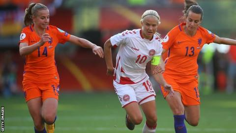 Pernille Harder in action for Denmark at Euro 2017