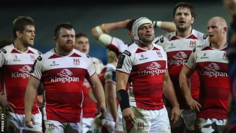 Rory Best and other Ulster players show their disappointment after the final whistle at Sandy Park