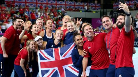 Britain's Fed Cup team celebrates victory