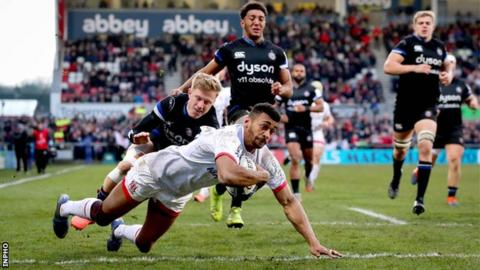 Robert Baloucoune dives over to score Ulster's second try against Bath