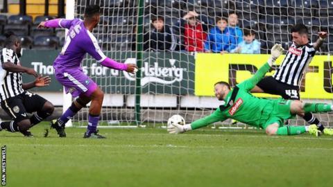 Reuben Reid scores Plymouth's second goal against Notts County