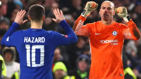 Chelsea's Eden Hazard and Willy Caballero