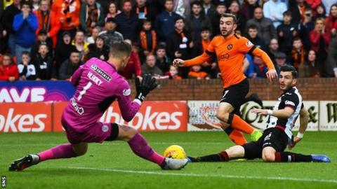 Dundee United's Paul McMullan forced a good save from Vaclav Hladky in the first half