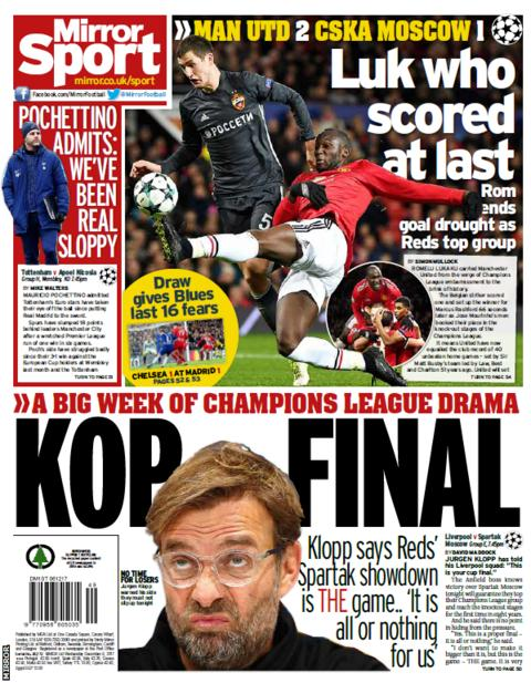 The Mirror on Wednesday is all about the final Champions League group games