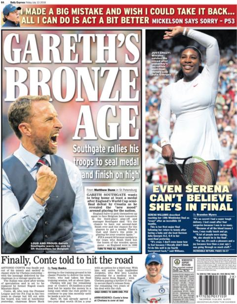 The Express focuses on Gareth Southgate's desire for England to win Saturday's third/fourth place play-off