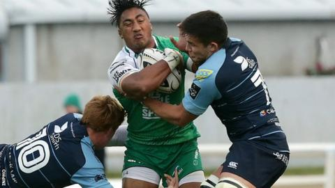 Blues pair Ellis Jenkins and Rhys Patchell tackle Connacht's Bundee Aki