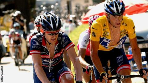 fa2fe9968 Floyd Landis and Lance Armstrong. Floyd Landis (left) rode for US Postal  Service alongside Lance Armstrong between 2002 and 2004