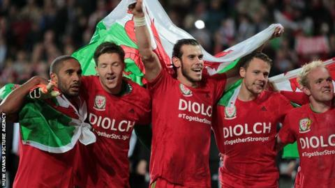 Wales players celebrate qualification for Euro 2016